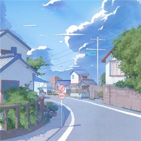 宫崎骏漫画下的蓝蓝夏日背景图片唯美梦幻